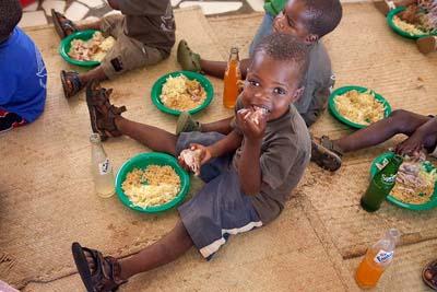 Boy at lunch
